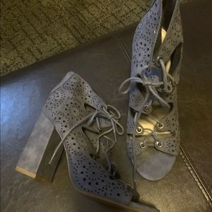 Women's Guess Blue chunky heel lace up sandal